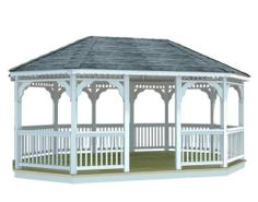 x Vinyl Oval Double Roof Gazebo by Fifthroom. Hydroponic Fish Tank, Hydroponics, Garden Structures, Outdoor Structures, Gazebo Plans, Sunroom, Garden Landscaping, Homesteading, New Homes