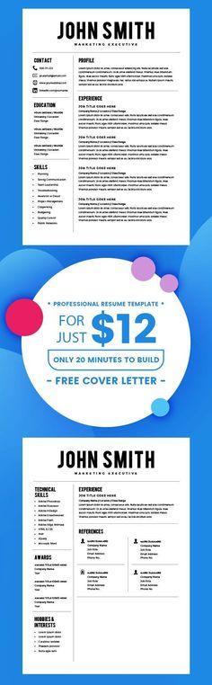 RESUME   CV   LEBENSLAUF Resume Template - Resume Builder - CV Template - Free Cover Letter - MS Word on Mac / PC - Sample - Best Resume Templates - Instant Download