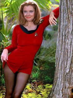"""xamfra: """"Emily Banks and a deleted scene from her 'Star Trek' appearance with DeForest Kelley. Star Trek Enterprise, Star Trek Voyager, Enterprise Ship, Star Trek Cosplay, Star Trek Kostüm, Star Trek 1966, Emily Banks, Film Science Fiction, Mode Costume"""