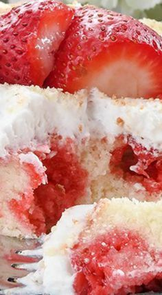 Southern Style Homemade Strawberry Poke Cake ~ A sweet homemade white cake topped with a strawberry sauce made with strawberry gelatin Jello and topped off with Cool Whip.