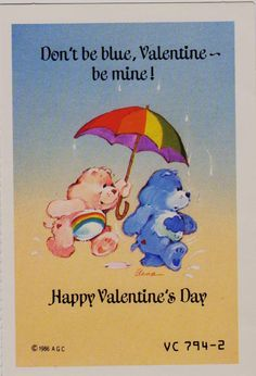 Vintage***CARE BEARS** VALENTINE CARD W/ENVELOPE AGC