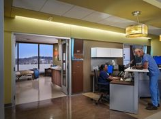 Modular furniture is used for caregiver stations and storage enclosures to ensure ease of reconfiguration when needed.
