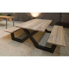 Table pique-nique avec bancs en teck massif et pieds en aluminium - La Galerie du Teck