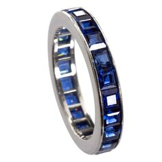 CARTIER Vintage Sapphire Wedding Band | From a unique collection of vintage wedding rings at https://www.1stdibs.com/jewelry/rings/wedding-rings/