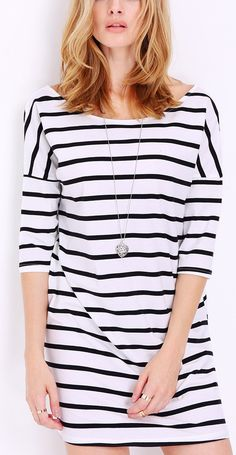 Love the look of this white half sleeve striped dress.