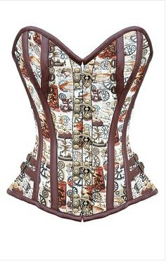 171a76e0814 Brown Printed   Faux Leather Steampunk Steel Boned Corset Steampunk Corset