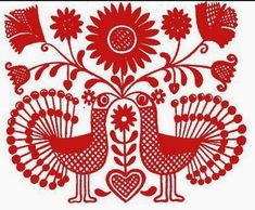 """Folk Embroidery Patterns Hungarian bird motif in red on a white background, indicative of the so-called """"written"""" style of Hungarian embroidery. Hungarian Embroidery, Folk Embroidery, Learn Embroidery, Chain Stitch Embroidery, Embroidery Stitches, Embroidery Patterns, Art Patterns, Folk Art Flowers, Russian Folk Art"""