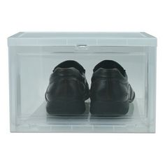 A large drop front box that stacks to maximize storage space. Extra clear front panel makes it easy to see what is inside. Organize all your shoes will keeping them fully accessible with these large drop front shoe boxes. The large drop front shoe boxes are able to accommodate most sizes of men's shoes. These boxes are sturdy and stack easily. Organize your closet while protecting your shoes.