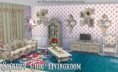 Shabby Chic Livingroom by HelleN at Sims Creativ