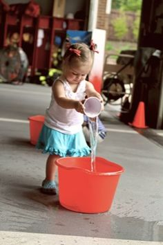 FIRE TRUCK birthday party!  Games: Fill the Bucket   & holla hoops around a hydrant