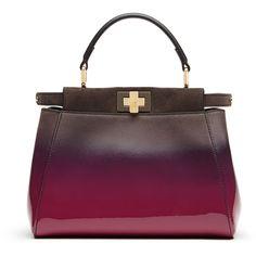 Fendi Peekaboo Mini Satchel Bag (45.321.730 IDR) ❤ liked on Polyvore featuring bags, handbags, purses, borse, fendi, magenta, man bag, satchel purse, hand bags and patent leather handbags