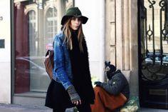 skirt, denim jacket, arm warmer, muffler, hat
