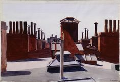 Edward Hopper - Roofs, Washington Square, 1926 - watercolor over charcoal on paper. Bequest of Mr and Mrs James H Beal, Carnegie Museum of Art American Realism, American Artists, Carnegie Museum Of Art, Art Museum, Henri Matisse, Edward Hopper Paintings, Pop Art, Ashcan School, Claude Monet