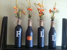 Wine bottles and chalk board paint!! Super easy!!! Getting ready for the fall time.