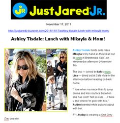 Just Jared  Ashley Tisdale having lunch wearing One Grey Day's Studio Sweater