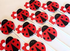 Ladybug Cupcake Toppers 1st Birthday Baby Shower by CakeTopperChic