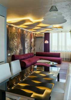 Download Modern Contemporary Small Open Living Space With Purple Velvet Upholstery Modern Contemporary Sofa Creative Ceiling Decor With Lighting Glass Tabletops Console Dining Table Design Ideas HD Wallpapers
