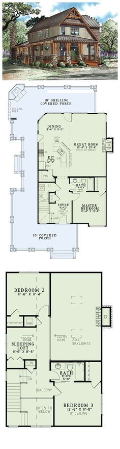 House Plan 82251 | Total living area: 1705 sq ft, 3 bedrooms & 2 bathrooms. Family and friends will create many wonderful memories in this Riverbend retreat. The huge wrap around porch is sure to entertain and features a corner fireplace and a grilling area.