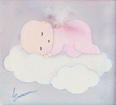 Aida Zamora - Art for kids. Custom paint. Cuadro infantil personalizado. Baby on cloud