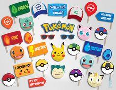 Pokemon Photo Booth set 25 pieces Printable by PartyPropsDesigns Pokemon Party Supplies, Pokemon Party Decorations, Pokemon Candy, Photo Booth Party Props, Nintendo Party, Pokemon Photo, 13th Birthday Parties, Pokemon Birthday, Pikachu