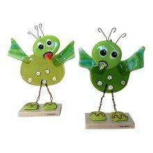 Glasfigurer - Glasfugle unger i grøn