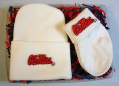 Officially Licensed Mississippi Ole Miss Rebel 2 Piece Baby Gift Set includes a soft 100% Cotton newborn knit cap plus a pair of (0/9 month) 100% cotton sock bootees, all decorated with embroidered school logos! Future Tailgater by DHM Kids $14.99