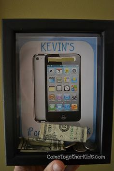 Shadow box bank to help children learn to save for what they want. What an awesome visual to give kids! Maybe this would have helped me save money when I was growing up.wouldn't be a bad idea for me now. Teaching Kids, Kids Learning, Cadre Diy, Activities For Kids, Crafts For Kids, Xmas Crafts, Just In Case, Just For You, Raising Kids