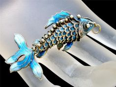 Vintage Brooch Sterling Silver Fish Chinese Articulated Figural Enamel Blue | eBay
