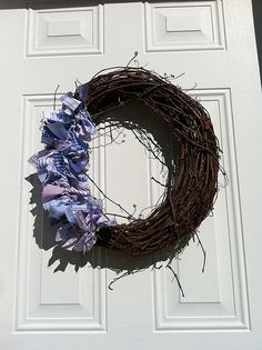 Recycled Shirting Fabric Grapevine Wreath