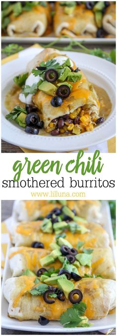 Pull together the canned items in your pantry to make these super easy smothered burritos! Filled with chicken, black beans, corn, and green chilis, then smothered in enchilada sauce and cheese. Quesadillas, Mexican Dishes, Mexican Food Recipes, Dinner Recipes, Mexican Meals, Dinner Ideas, Green Chili Chicken, Canned Chicken, Rotisserie Chicken