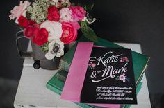 Винтажные приглашения на свадьбу. Вдохновленные доской для мела. #vintage #wedding #invitation #black #chalkboard