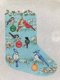 Needlepoint christmas stocking kits for beginner and experienced a colorful needlepoint christmas stocking by nenah stone of winter birds on snow covered pine branches with ornaments solutioingenieria Gallery