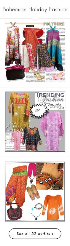 """Bohemian Holiday Fashion"" by era-chandok ❤ liked on Polyvore featuring BCBGMAXAZRIA, vintage, skirt, boho, Bohemian, wrapdress, magicskirt, gift, blouse and tunic"