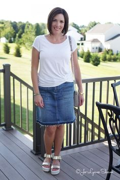 Fashion Over 40: White Tee + Denim Jean Skirt Click through to see more outfit ideas! Jo-Lynne Shane