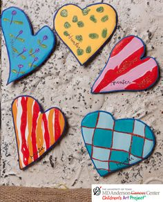 MD Anderson Hunter's Groovy Heart Magnets Assorted Set of 5 - The Round Top Collection V7039