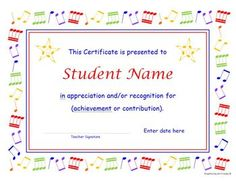 This Four Page Editable Doent Includes 1 A Multicolor Music Certificate Template