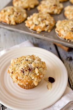 Tender, moist Sourdough Banana Bread Muffins studded with dried ...