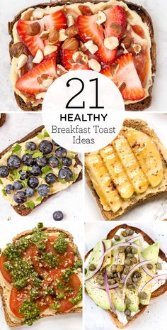 Here are our 21 favorite healthy breakfast toast ideas These easy recipes are perfect for busy mornings We ve got vegan vegetarian gluten-free recipes that are sweet savory with bananas eggs peanut butter and Breakfast Low Carb, Breakfast Toast, Healthy Breakfast Recipes, Easy Healthy Recipes, Healthy Snacks, Easy Meals, Free Recipes, Quinoa Breakfast, Healthy Breakfasts