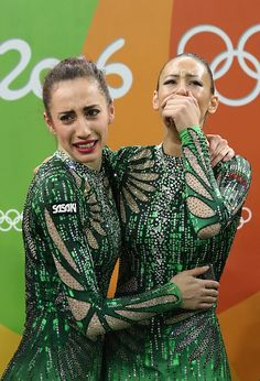 Team Bulgaria reacts after winning bronze during the Group AllAround Final on…