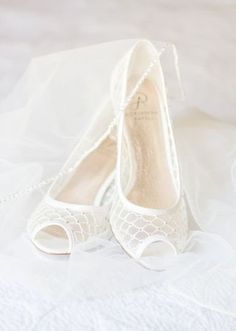 Classic wedding shoes for bride- peep-toe white heels for wedding {Melissa Woodruff Photograph}