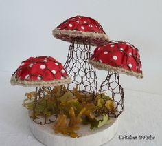 Inspiration d'Automne, champignons grillage et tissus