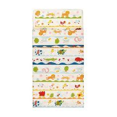 "Ikea Barnslig Dans Crib Duvet Cover/pillowcase, Multicolor by Ikea. $35.99. Product dimensions Duvet cover length: 49 "" Duvet cover width: 43 "" Pillowcase length: 14 "" Pillowcase width: 22 """