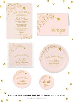 Pink and gold twinkle twinkle little star themed baby shower invitation and matching products. Set includes invites, thank you cards, paper napkins, paper plates, stickers and more.