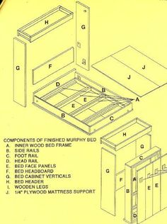 Drawing of parts included in murphy bed kit