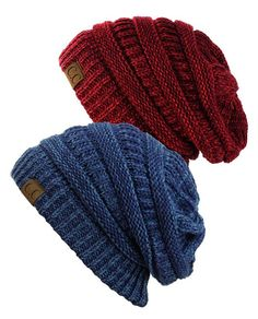 NYfashion101 Exclusive Unisex Two Tone Warm Cable Knit Thick Slouch Beanie  Cap b55a28c2009b