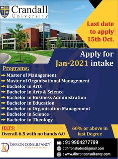 Crandall offers undergraduate, graduate and certificate programs with courses that are intellectually challenging and focused on delivering a rigorous, holistic learning experience Apply for #january2021intake Last Date: 15th Oct Hurry up before seats get full. To get admission, Call: 9904277799 Email: dhrronstudent@gmail.com Organizational Management, How To Apply, How To Get, Last Date, Certificate Programs, Ielts, Science Art, University, Dating