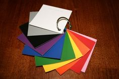 """color """"flash cards"""" made with paint chips and a key ring- great grocery store toy for toddlers!"""