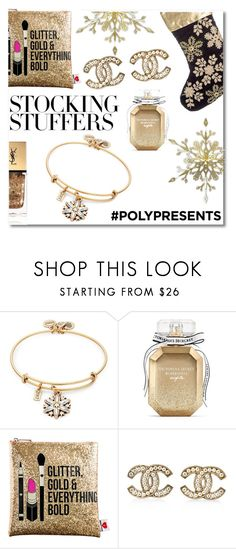"""#PolyPresents: Stocking Stuffers"" by ifancyu ❤ liked on Polyvore featuring Alex and Ani, A by Amara, Victoria's Secret, Sephora Collection, Chanel, Yves Saint Laurent, contestentry and polyPresents"