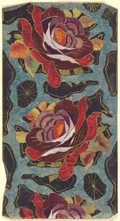 Pattern with Red and Purple Roses Against a Blue and Black Background, anonymous, French, 20th century, art deco