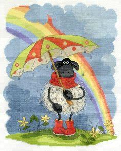 Shabby Sheep April Showers Cross Stitch Kit - £22.50 on Past Impressions | by DMC